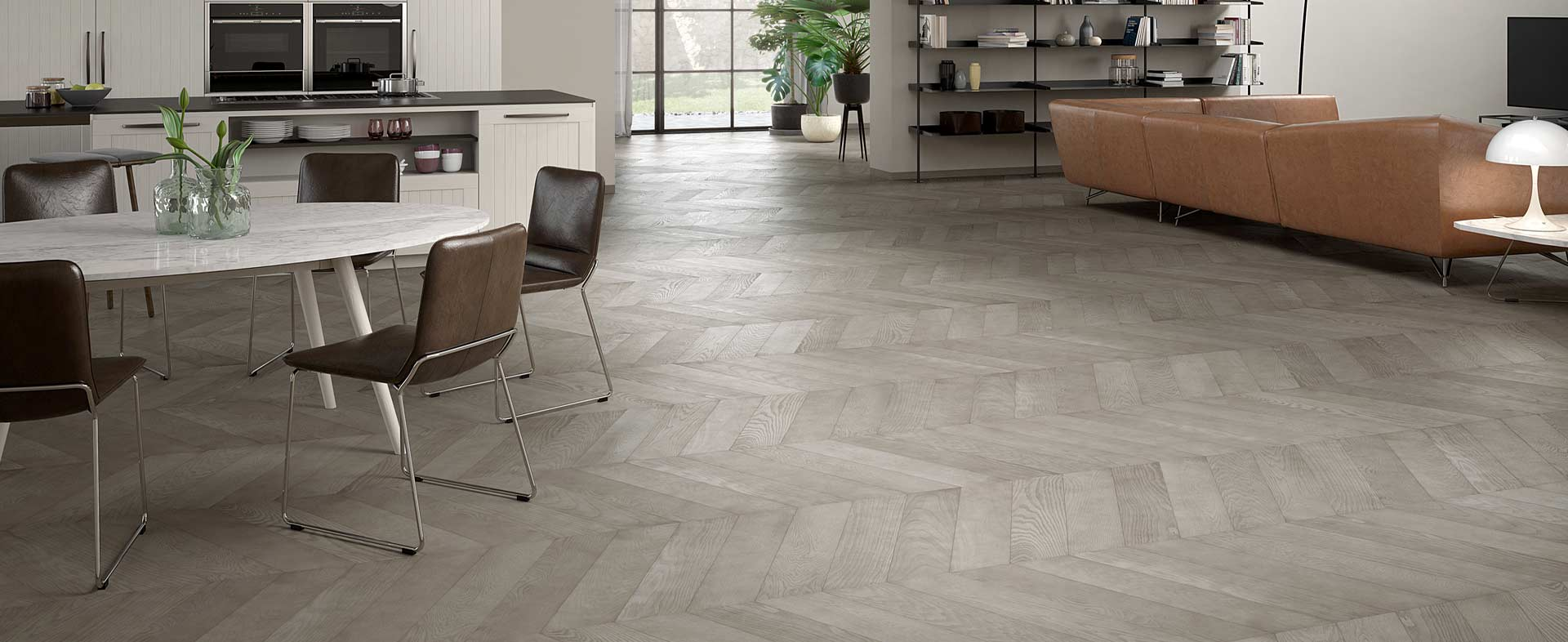 Turtledove Oak Planks Chevron 60°