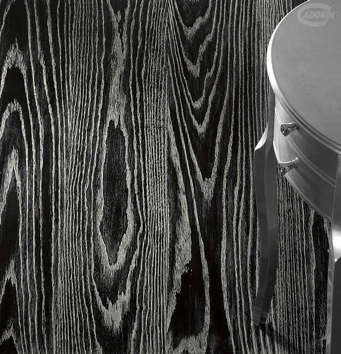 SILVER Leaf - black background - Brushed Oak