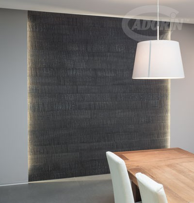 Wall Covering - European Oak, saw cutting, Charcoal finish