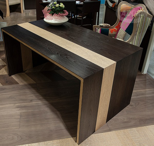 Brown desk with Cortec oak inserts -